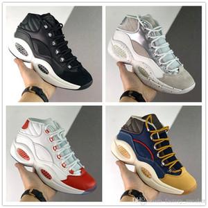 Hotsale Pergunta JET meados vida Q1 tênis de basquete Homens Allen Iverson Black Red White Resposta 1s das sapatilhas dos homens treinadores desportivos designer de 40-45