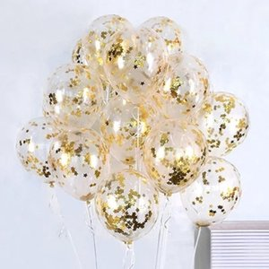 heap Ballons & Accessories 10 PCS Golden Sequins Transparent Latex Balloons birthday party decorations kids Wedding Room Decoration Ballo...