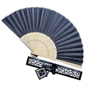 Solid Silk Hand Fan Chinese Style Decorative Fan with Gift Box Wedding Dance Dress Accessories Han Costume Show Fan 0705#