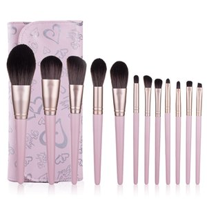 12pcs Pink Makeup Brushes Set with a Leather Bag For Foundation Powder Blush Eyeshadow Concealer Lip Eye Make Up Brush Cosmetic Beauty Tools