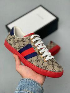 sapatos de grife ACE luxo bordado sapatos de couro Designer Sneaker Mens Mulheres Marca Casual sapatos baixos