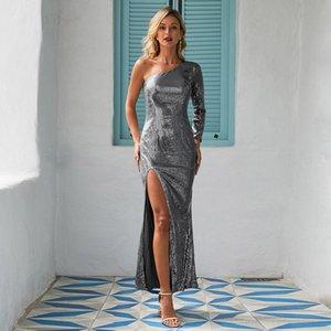 INS Amazon Avrupa Ve Amerika-Stil Bayan Parti payetli elbise Yeni Tek Omuz-Trim Yaka Yarık Midi Elbise Satılık