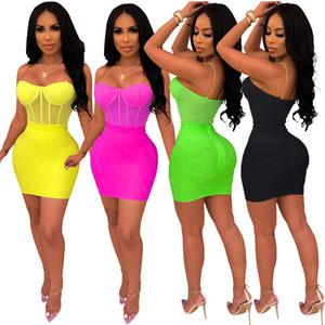 여름 여성 bodycon 미니 스커트 2 피스 세트 드레스 섹시 메쉬 splicing 체인 스파게티 스트랩을 통해 볼 점프 슈트 바디 슈트 의류 clubwear