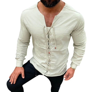 Pure Color simple d'homme Tether coton lin Chemises Slim Fit Blouses Harajuku sociale col rond blanc Homme Vêtements à manches longues