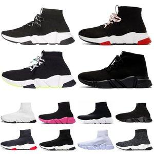 Balenciaga shoes Дизайнерская обувь кроссовки Speed Trainer Черный Красный Тройной Черный Модные сапоги на плоской подошве Повседневная обувь Женская кроссовка с мешком для пыли