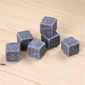 2cm Natural Whiskey Stones 6 pcs lot Whisky wine Cooler Rock Soapstone Ice Cube With Velvet Storage Pouch bar tool LJJA3382-2