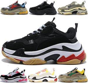 الثلاثي الصورة مصمم أحذية رياضية باريس 17FW الثلاثي الصورة منصة للرجال والنساء أسود أبيض أحمر أخضر عارضة أبي أحذية التنس تزايد 36-45