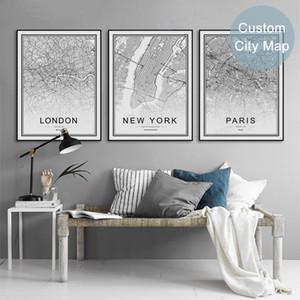 Black White World City Mapa Paris Londres Nova Iorque Posters Nordic Sala Wall Art Pinturas Decor Pictures Home lona