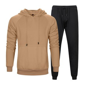 Mens Designer Solid Color Tracksuits Autumn Winter Loose Hoodie Long Pants 2PCS Sets Fitness Training Active Two Pieces Suits