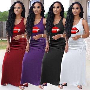 Plus size Summer Women brand solid color maxi dress designer casual dress fashion skinny one-piece dress trendy sleveless vest skirts 3200