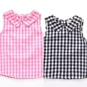 Babies Coat Children's clothing jacket' pure cotton plaid vest vest girls' top Japanese and Korean children's wear sleeveless top