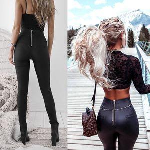 2018 Top Fashion Women Leather Zipper Harem Pants Women Black Casual High Waist Pants SkinnyTrousers Pantalon Femme Pencil Pants