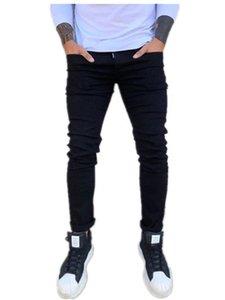 Negro para hombre delgado diseñador Jeans Primavera sólido de la manera de los pantalones de color Slim Fit lápiz casual para hombre pantalones largos