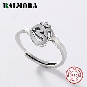 Balmora 925 Sterling Silver Budismo Escritura Abertas Empilhando anéis para a indicação da forma Mulheres Homens Vintage Jóias Anéis
