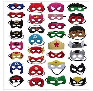 Halloween Kid máscara dos desenhos animados de feltro pano Máscara Máscara do super-herói Batman Spiderman multi Styles Máscaras metade do rosto do partido do Natal das crianças