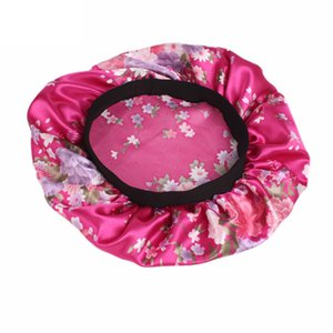 Wide-Brimmed Printed Double-Layer Waterproof Shower Cap Satin Sleep Hat Hair Cap Hat Silk Hood Loose Band Rose Red floral