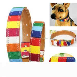 SHIP Rainbow Leather Pet Dog Collar S M L XL 2XL Colorful Plain Skin Collar With Buckle For Cats dog WX9-682