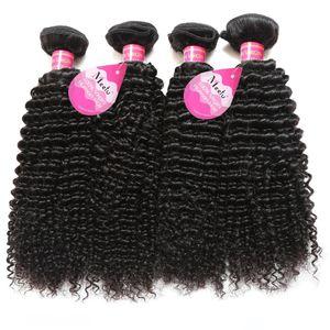 Brésilienne Péruvienne Cheveux Malaisiens Naturel Bouclés Humains Jerry Curl Cheveux Tisse 4 Bundles Non Transformés Vrigin Extensions De Cheveux Pour Les Femmes Noires