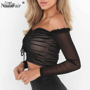 Off Shoulder Sexy Mesh Crop Tops Women Lace Up Wave Ruched Black White T Shirt Female