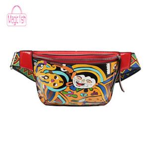Sihirli Balık Yeni Kadın Bel Paketi Etnik Sevimli Komik Kişilik Kemer Çantası PU Deri Graffiti Göğüs Çanta Renkli Omuz Kemer