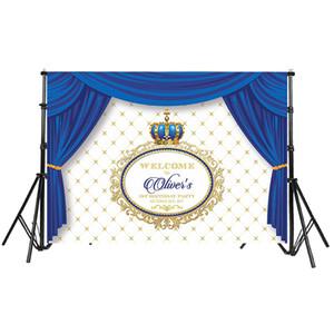 Rideau bleu Prince Party Couronne de douche pour bébé Cadre photo personnalisé Toile de fond vinyle 220 cm x 150 cm