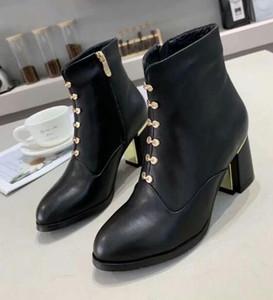 [Original Box] neue Ankunfts-Frauen schnüren sich oben Martin Kitten Heels Stiefel Knöchel Winter-Real Leather Zip Black Boots SZ34-40