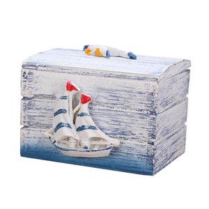 Mini Sea Wooden Pirate Treasure Jewellery Storage Chest Craft Box Case Organiser Sailboat