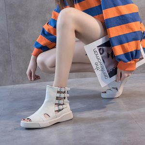 Fashion wild high-top sandals women 2020 new casual wild hollow breathable women's shoes fish mouth sandals women FS-02 Y200702