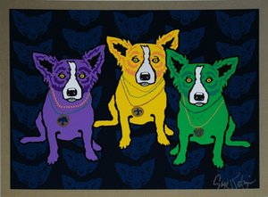 George Rodrigue Blue Dog Mardi Gras Dogs Home Decor Handpainted &HD Print Oil Painting On Canvas Wall Art Pictures 200113