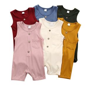 Bebek Bebek Düğme Jumpsuit Kız Cep Romper Onesies Çocuk Casual Giyim Boys Katı Kolsuz Tulumlar Çocuklar Casual Giyim 3-18M 06
