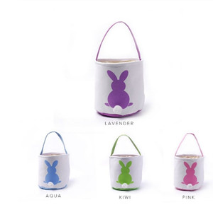 Cute Easter Rabbit Basket Round Canvas Gift bag cartoon Blanks Bunny tails bucket Put Easter Jute Rabbit DIY Tail Buckets For Kid Egg Candie