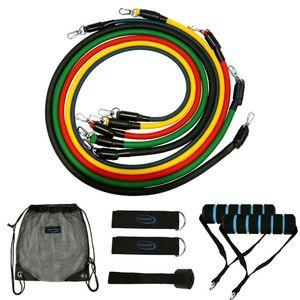 Expander en el pecho masculino portátil tirador de látex elástico ejercicio CrossFit 11pcs cuerda entrenamiento de los músculos / set Tubo de fitness banda de resistencia