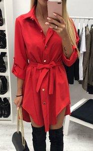 Women Dresses Woman Clothes Shirt Dress Womens Fashion Solid Mini Office Ladies Buttons Irregular Bandage Turn Down Collar Long Sleeve