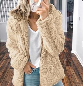 BKLD informal paño grueso y suave caliente Fuzzy con capucha de manga larga chaqueta de la capa de las mujeres de moda de la cremallera abierta de la puntada de invierno con capucha capa femenina
