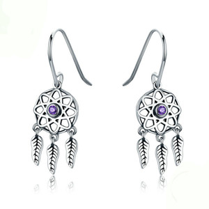 Genuine 100% 925 Sterling Silver Dream Catcher Holder Drop Earrings for Women Sterling Silver Jewelry Gift YMSCE394