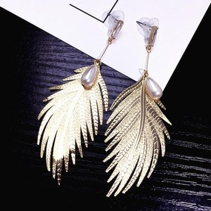Metallic feather hipster earring pearl temperament contracted long style pendant personality joker summer earrings