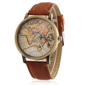 Piel de oveja Papel Capa-citor Mapa Reloj de pulsera Avión Giradiscos Paño Cowboy Tela Mujer Superficie Bronce Última moda Superficie