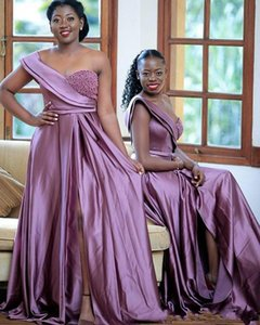Lilac Elastic Silk Like Satin Bridesmaid Dresses One Shoulder Pearls Guests Dresses High Split Formal Maid Of Honor Dresses Custom Made