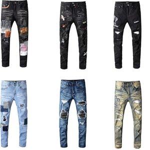 Distressed Amir uomo Strappato Motociclista Jean D'EPOCA pantaloni slim fit Mens Moto Denim Jeans Hip Hop punk per gli uomini