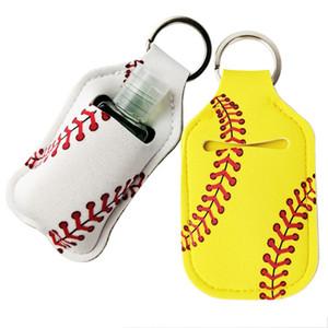 Neoprene Cover Baseball Softball Keychains Chaps Holder RTS for Hand Sanitier Bottle Gel Holder Sleve Keep Cheer Ring pendent WY565