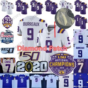 LSU Tigers Burreaux del calcio Jersey diamante Patch 2020 Champions Playoff Collegio Joe Burrow 7 Ja'marr Chase Nickname Beckham Delpit Mathieu