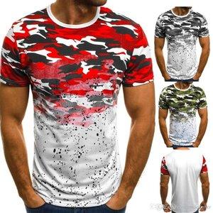 تمويه طباعة Mens الصيف التنانير طاقم الرقبة قصيرة كم الأزياء نمط Homme الملابس نقطة الملابس العادية