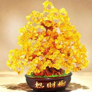 Kristall Glücksgeld Fortune-Baum LUCKY Fortune Wealth chinesischen Golden Home Office-Dekoration besten Geschenke Tabletop Ornament Handwerk Y200104