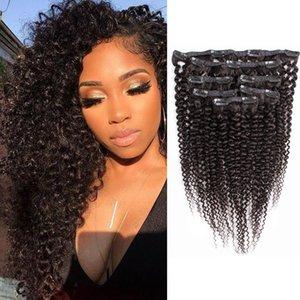 Grampo de cabelo encaracolado Brasileira Em Extensões de cabelo humano Jerry onda Natural Color 7 PCS por Set 110 gramas Remy extensão do cabelo humano