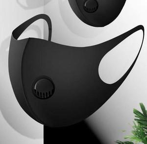Ice Máscara Facial de seda com a respiração Válvula lavável Máscara Máscaras reutilizáveis anti-poeira de protecção preto Reciclar válvula Máscara GGA3303-1