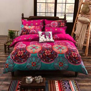 4pcs / set Bohemian Oriental Mandala beding seti eid çarşafları kapak çarşaf Yorgan Nevresim Seti Düz Levha yataklar yastık