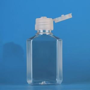 50 мл дезинфицирующее средство для рук ПЭТ пластиковая бутылка с откидной крышкой прозрачная квадратная форма бутылки для косметики одноразовый дезинфицирующее средство для рук
