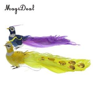 Magideal 2 pz Colorful pappagalli artificiali Uccello Decor Simulazione Piuma Sparrow Giardino Ornamento Uccelli Decorazioni C19041501