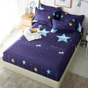Polyester Blue Purple Sky Printed Kids Bed Sheet Bedding Fitted Sheets Mattress Cover Bedspreads With Elastic Band Bedsheet