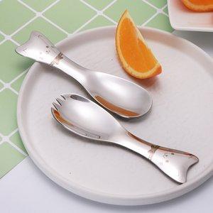 Viajes 2pcs Tenedor cuchara de dibujos animados Los niños de vajilla de acero inoxidable Cubiertos Niños bebé vajilla portable creativo Mini cuchara